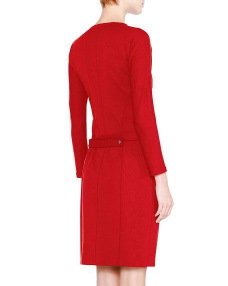 Long-Sleeve Henley Shirtdress, Red