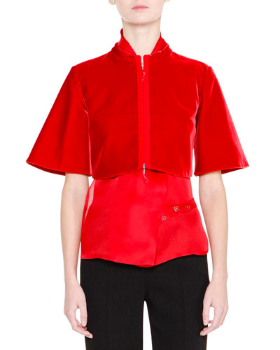 Bell-Sleeve Zip-Front Bolero, Red