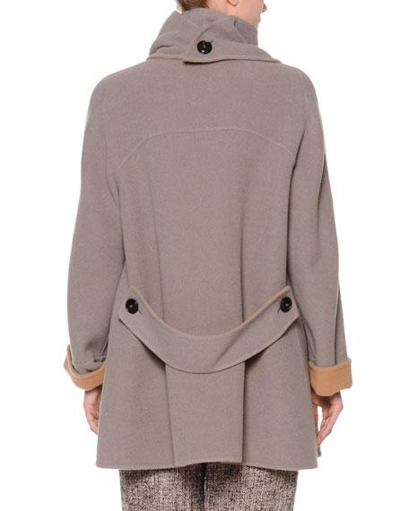 Long-Sleeve Wrap Coat w/Detachable Collar, Gray