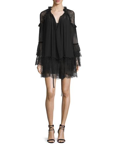 Lace-Inset Tiered Boho Dress, Black