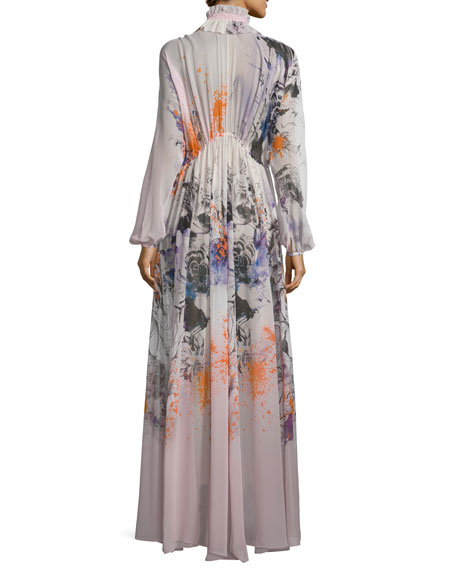 Bishop-Sleeve Floral-Print Caftan, Pink/Multi