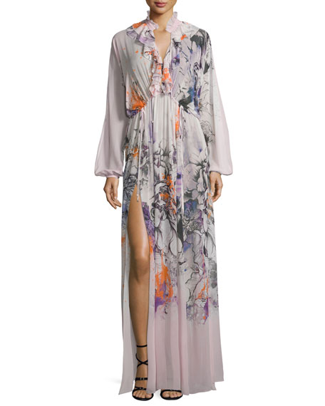 Bishop-Sleeve Floral-Print Caftan, Pink/Multi