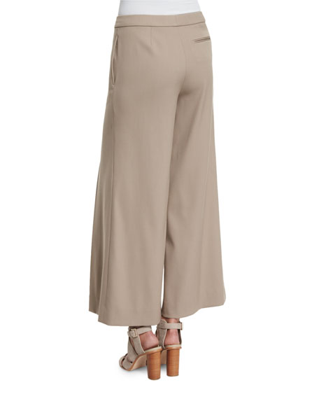 Beatriz Wide-Leg Cropped Pants, Taupe