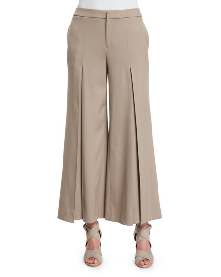 Ralph Lauren Collection Beatriz Wide-Leg Cropped Pants, Taupe