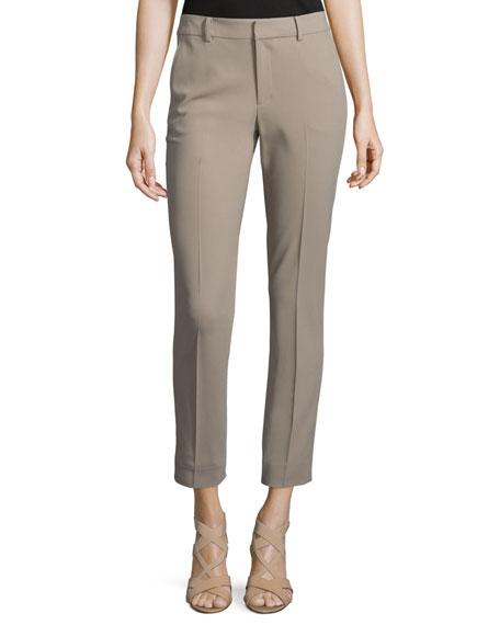 Heidi Slim-Leg Cropped Pants, Taupe