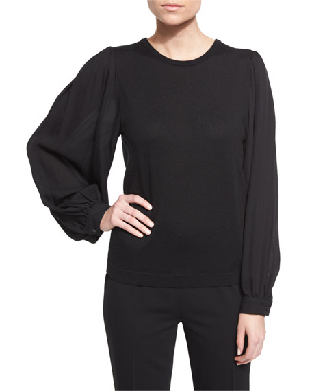 Balloon-Sleeve Cashmere Sweater, Black
