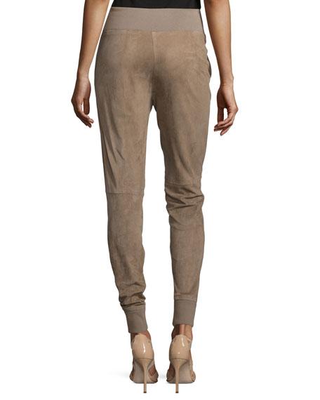 Taryn Drawstring-Waist Jogger Pants, Taupe