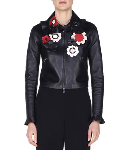 Floral-Embellished Leather Bomber Jacket, Black