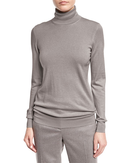 Long-Sleeve Turtleneck Cashmere Sweater, Silver Myrtle