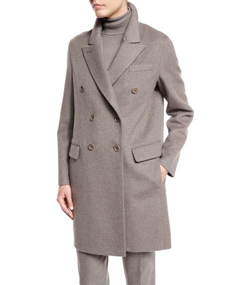 Barret Double-Breasted Cashmere Coat, Silver Myrtle Melange