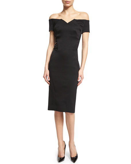 Zac Posen Off-The-Shoulder Cocktail Dress, Black