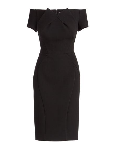 Off-The-Shoulder Cocktail Dress, Black