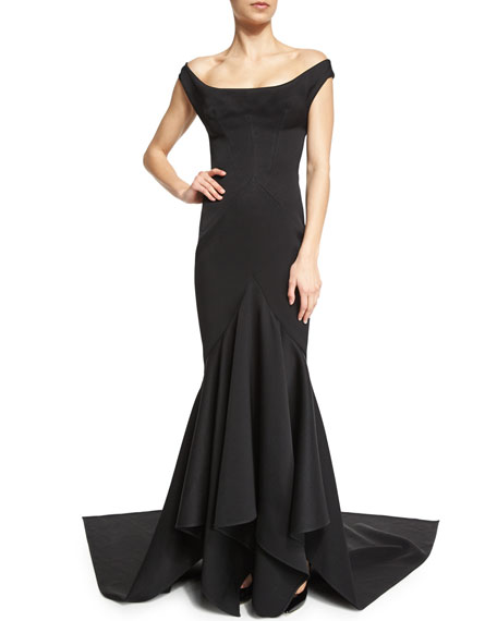 Off-The-Shoulder Ruffle-Inset Gown, Black