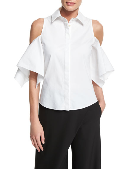Button-Front Cold-Shoulder Blouse, White
