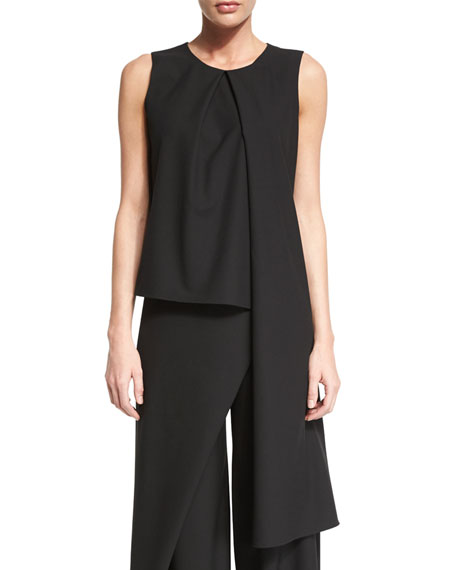 Zac PosenSleeveless Jewel-Neck Draped Top, Black