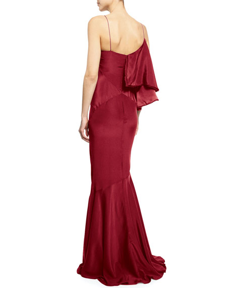 Sleeveless Draped-Ruffle Gown, Red