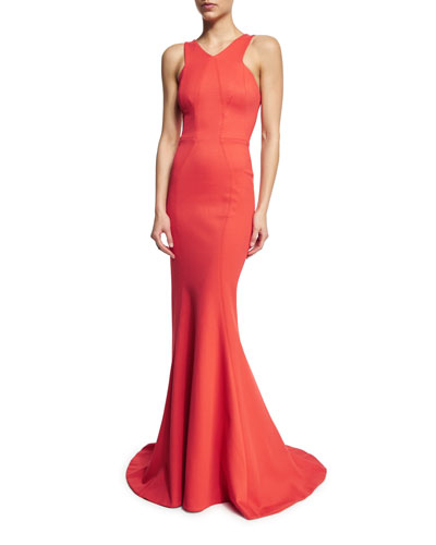 Sleeveless Fit-&-Flare Gown, Coral