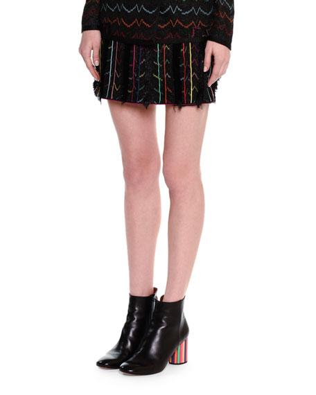 Stereo Zigzag Miniskirt W/Fringe, Black Metallic