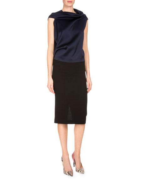 Arreton Fitted Pencil Skirt, Black