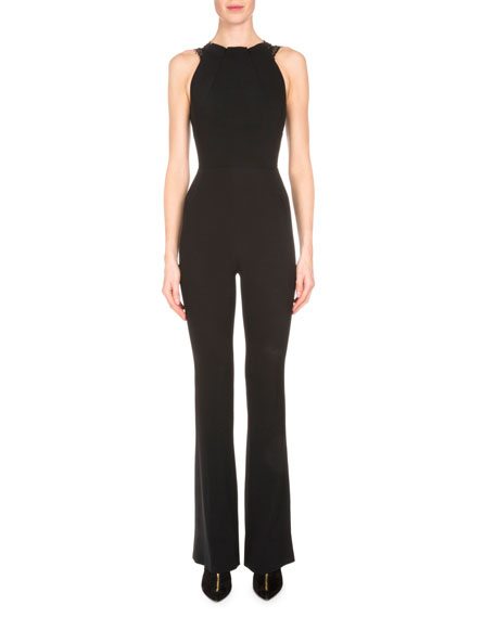 Roland Mouret Sleeveless Stretch-Woven Jumpsuit w/Lace Back,