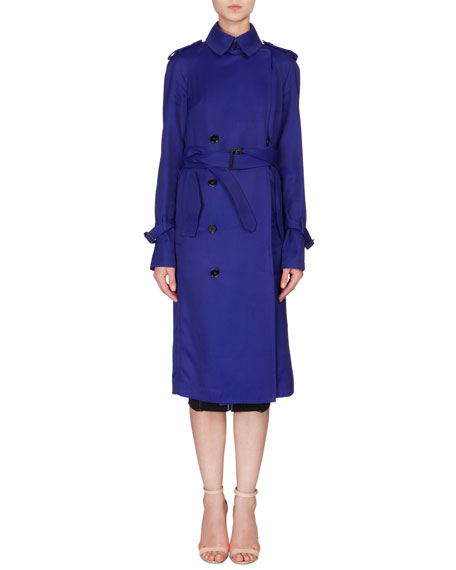 Victoria Beckham Fluid Double-Breasted Trench Coat, Deep Cobalt