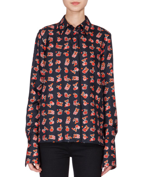 Victoria Victoria Beckham Long-Sleeve Fruit-Print Blouse, Navy/Multi