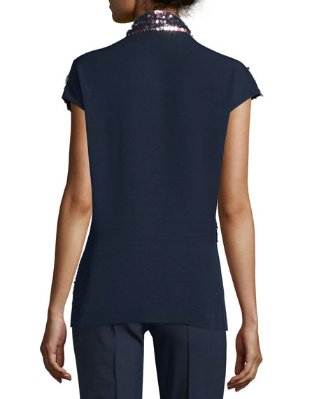 V-Neck Embellished-Front Blouse, Midnight Blue