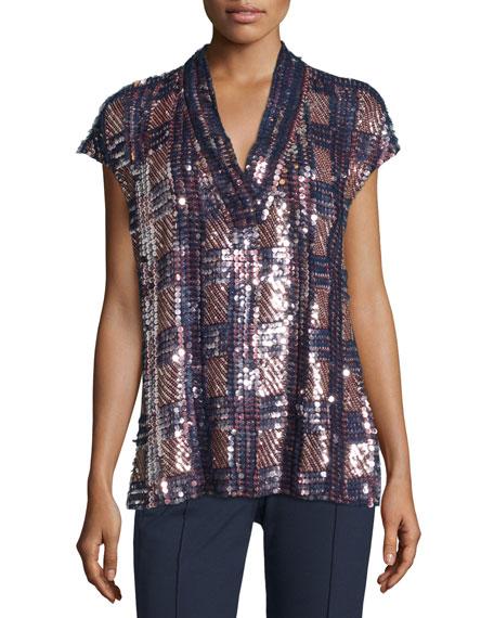 Escada V-Neck Embellished-Front Blouse & Tusko Straight-Leg Ankle