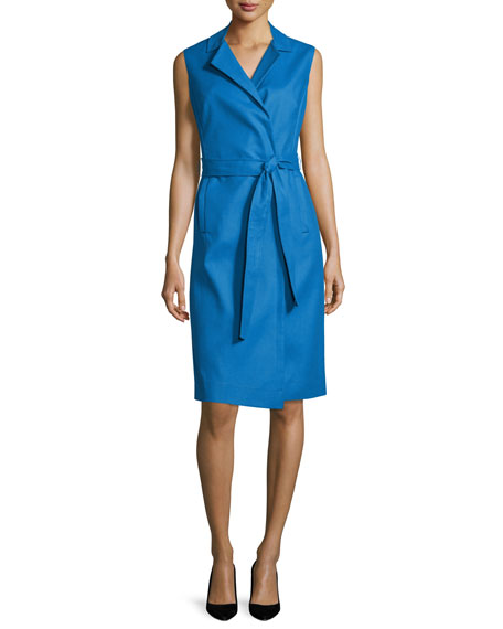 Escada Bartolini Sleeveless Belted Shirtdress, Dark Blue