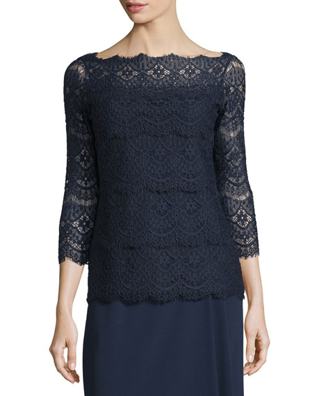 Escada 3/4-Sleeve Tiered-Lace Blouse, Midnight Blue