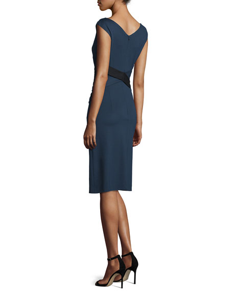 Escada Cap-Sleeve Crisscross-Waist Dress, Midnight Blue