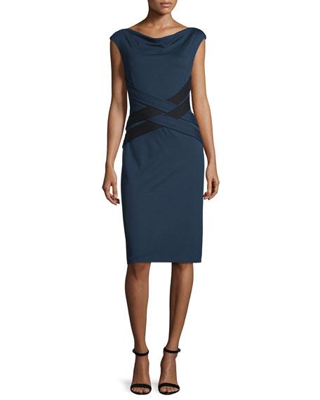 Escada Cap-Sleeve Crisscross-Waist Dress, Midnight Blue