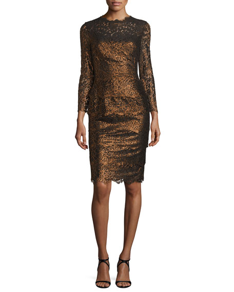 Escada Bracelet-Sleeve Tiered Lace Dress, Copper
