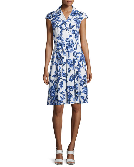 Lela Rose Jane Floral-Print Cotton Shirtdress, Blue/Ivory