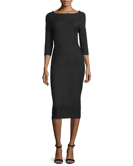 Lela Rose Audrey Elbow-Sleeve Dress, Black