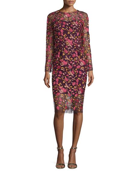 Lela Rose Long-Sleeve Embroidered Sheath Dress, Pink/Multi