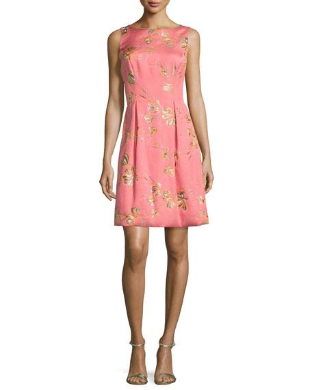Lela Rose Betsy Full-Skirt Sheath Dress, Pink/Orange