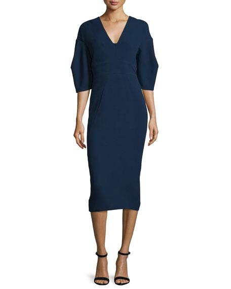 Half-Sleeve V-Neck Midi Dress, Navy