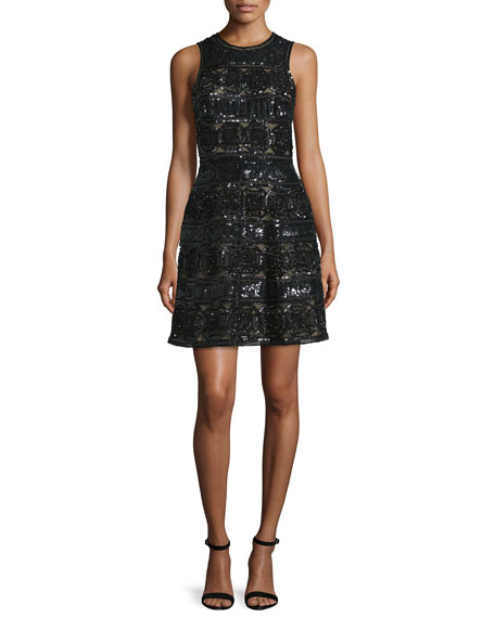 Elie Saab Sleeveless Embellished Cocktail Dress, Black