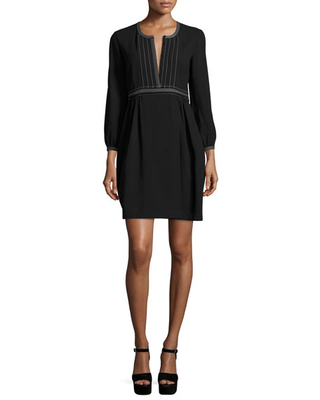 Burberry Rachel Long-Sleeve Topstitched Wool Dress