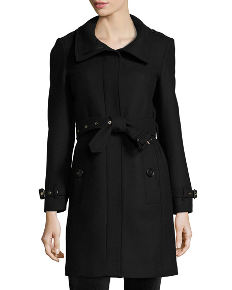 Burberry Brit Gibbsmore Wool-Blend Single-Breasted Coat, Black