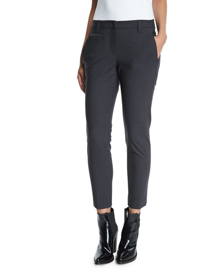 Slim-Leg Monili-Trim Cropped Pants, Anthracite