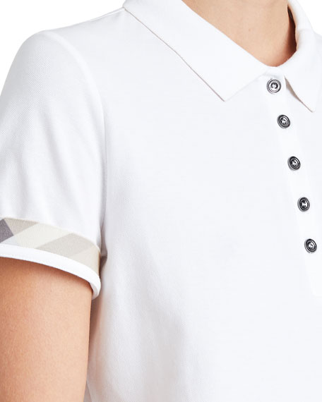 Slim-Fit Polo Shirt with Check Trim, White