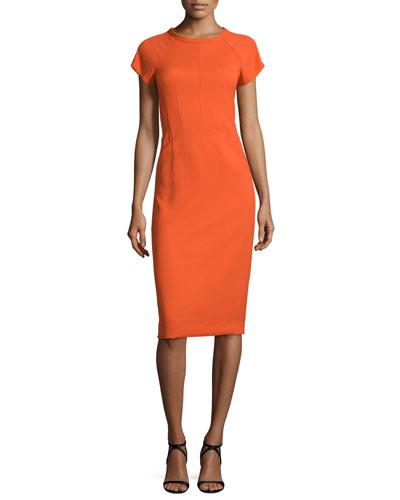 Cap-Sleeve Round-Neck Crepe Dress, Fire Orange