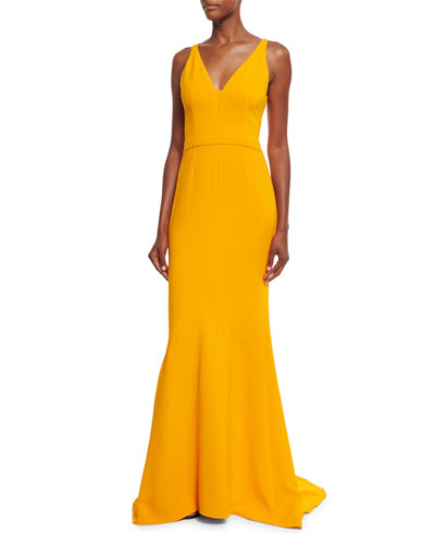 Sleeveless V-Neck Fluted Gown, Marigold