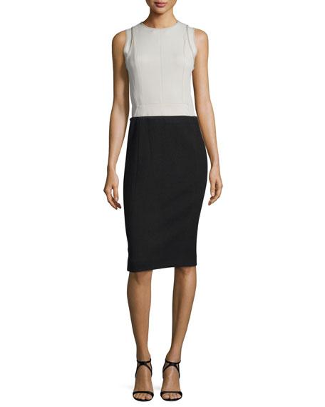 Narciso Rodriguez Sleeveless Colorblock Sheath Dress, Silver/Black