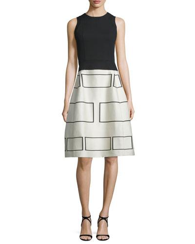 Sleeveless Geometric-Print Party Dress, Black/Ecru