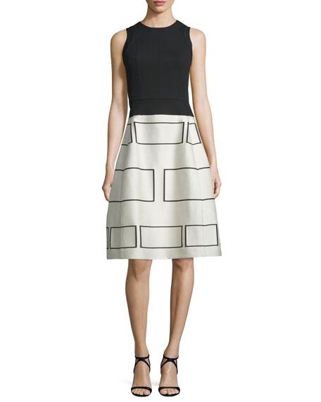 Narciso Rodriguez Sleeveless Geometric-Print Party Dress, Black/Ecru