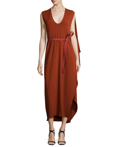 Sleeveless Belted Cape Dress, Rust