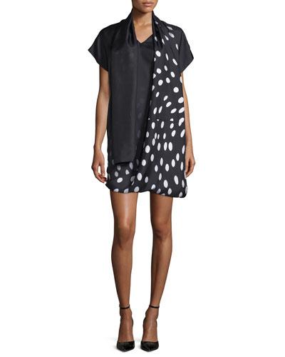 Degrade Dot-Print Serape Dress, Black/White